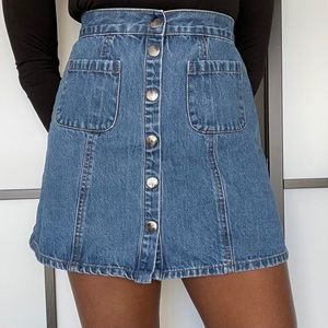 BDG mini denim skirt with snap buttons